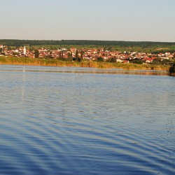 Blick vom Neusiedler See auf Mörbisch